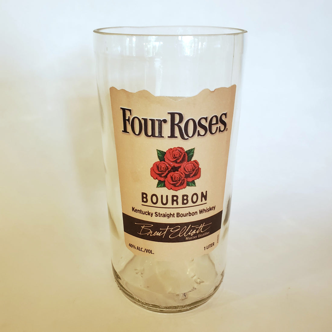 Four Roses Bourbon 1L Hand Cut Upcycled Liquor Bottle Candle - Choose Your Scent