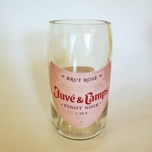 Juve & Camps Rose 750ML Hand Cut Upcycled Sparkling Wine Bottle Candle - Choose Your Scent