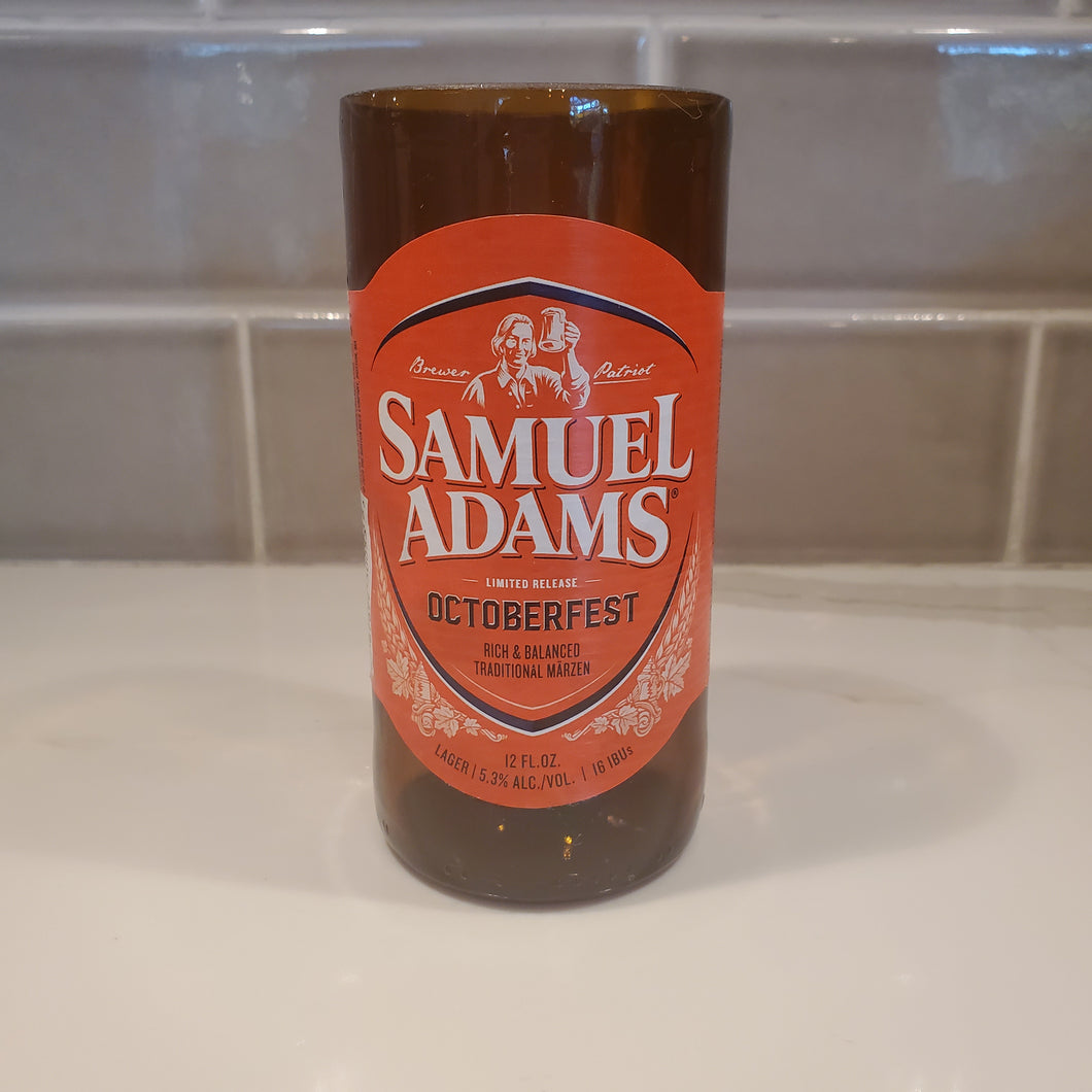 Samuel Adams Octoberfest Hand Cut Upcycled Beer Bottle Candle - Choose Your Scent
