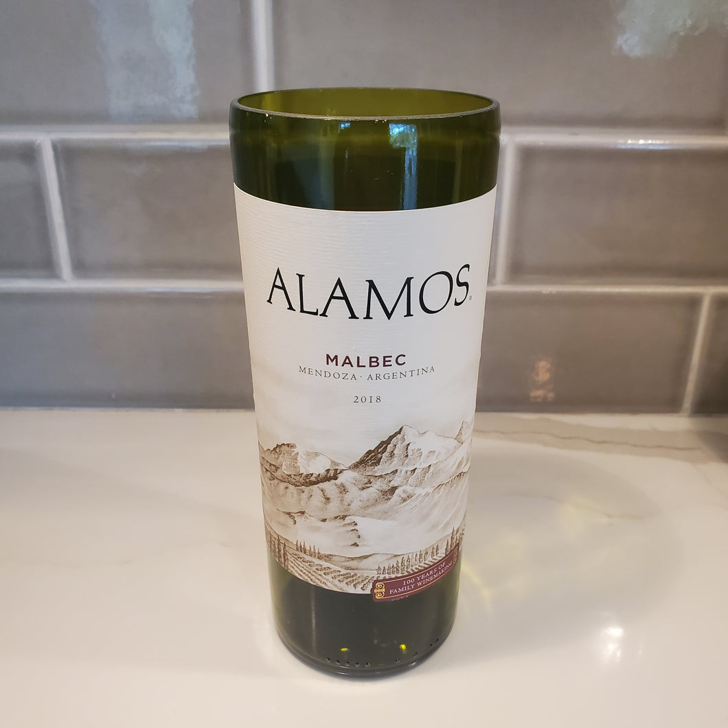 Alamos Malbec Wine Hand Cut Upcycled Wine Bottle Candle - Choose Your Scent