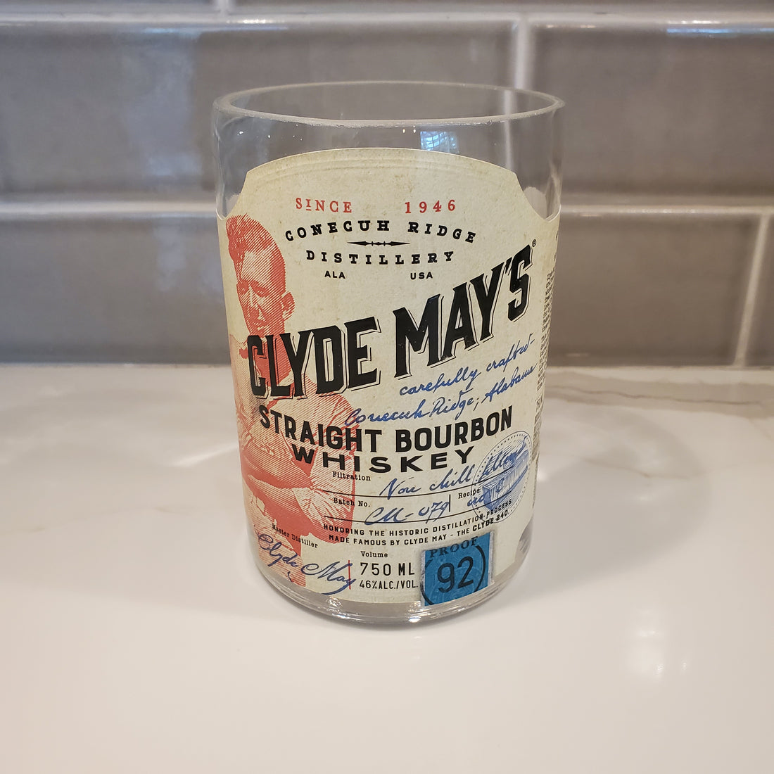 Clyde May's Bourbon 750ml Hand Cut Upcycled Liquor Bottle Candle  - Choose Your Scent