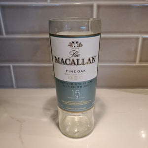 Macallan Fine Oak 15 Year   - 750ml Hand Cut Upcycled Liquor Bottle Candle  - Choose Your Scent