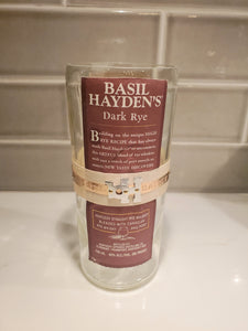 Basil Hayden's Dark Rye Whiskey - 750ml Hand Cut Upcycled Liquor Bottle Candle  - Choose Your Scent