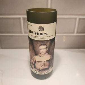 19 Crimes Hand Cut Upcycled Wine Bottle Candle - Choose Your Scent