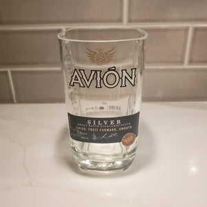 Avión Silver Tequila 1L Hand Cut Upcycled Liquor Bottle Candle  - Choose Your Scent