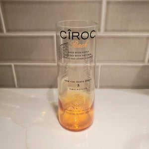 Ciroc Peach 750ml Hand Cut Upcycled Liquor Bottle Candle  - Choose Your Scent