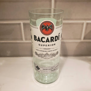 Bacardi 1L Hand Cut Upcycled Liquor Bottle Candle  - Choose Your Scent