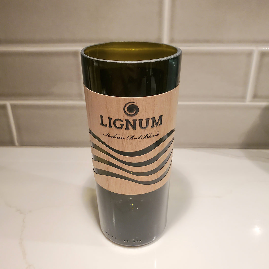 Lignum Italian Red Blend Wine Hand Cut Upcycled Wine Bottle Candle - Choose Your Scent