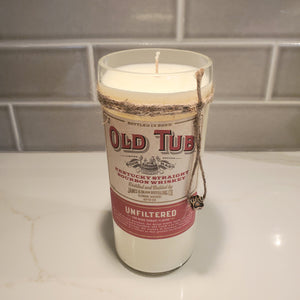 Old Tub Whiskey  - 750ml Hand Cut Upcycled Liquor Bottle Candle  - Scent - Tobacco Caramel