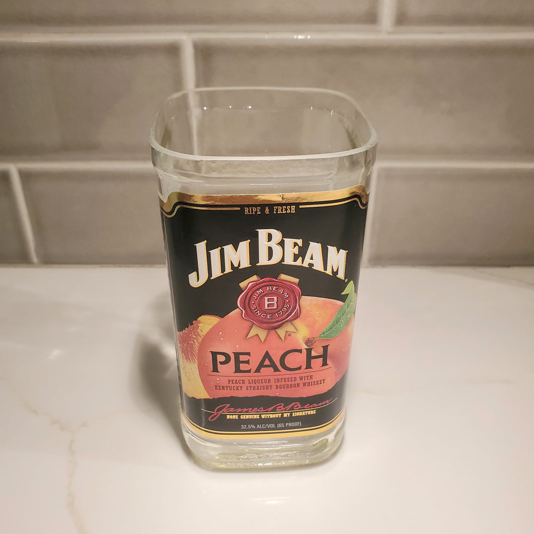 Jim Beam Peach Whiskey - 750ml Hand Cut Upcycled Liquor Bottle Candle  - Choose Your Scent