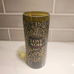 Love Noir Satin Red Hand Cut Upcycled Wine Bottle Candle - Choose Your Scent