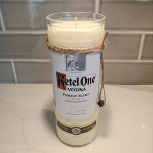Ketel One Vodka 1L Hand Cut Upcycled Liquor Bottle Candle - Scent - Citron and Mandarin