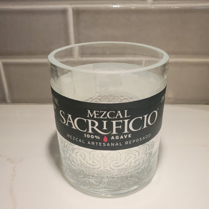 Mezcal Sacrificio 750ml Hand Cut Upcycled Liquor Bottle Candle  - Choose Your Scent
