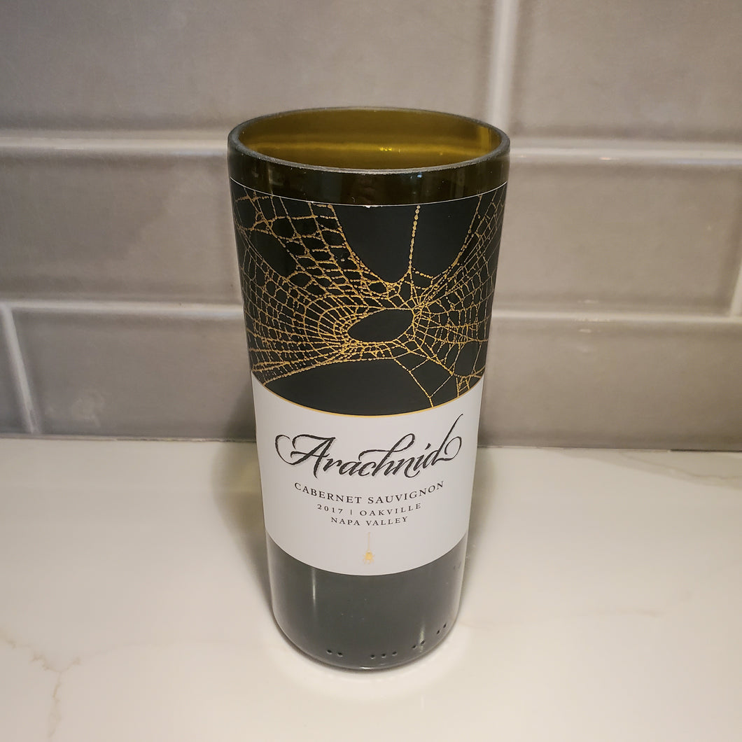Arachnid Cabernet Sauvignon Blend Hand Cut Upcycled Wine Bottle Candle - Choose Your Scent