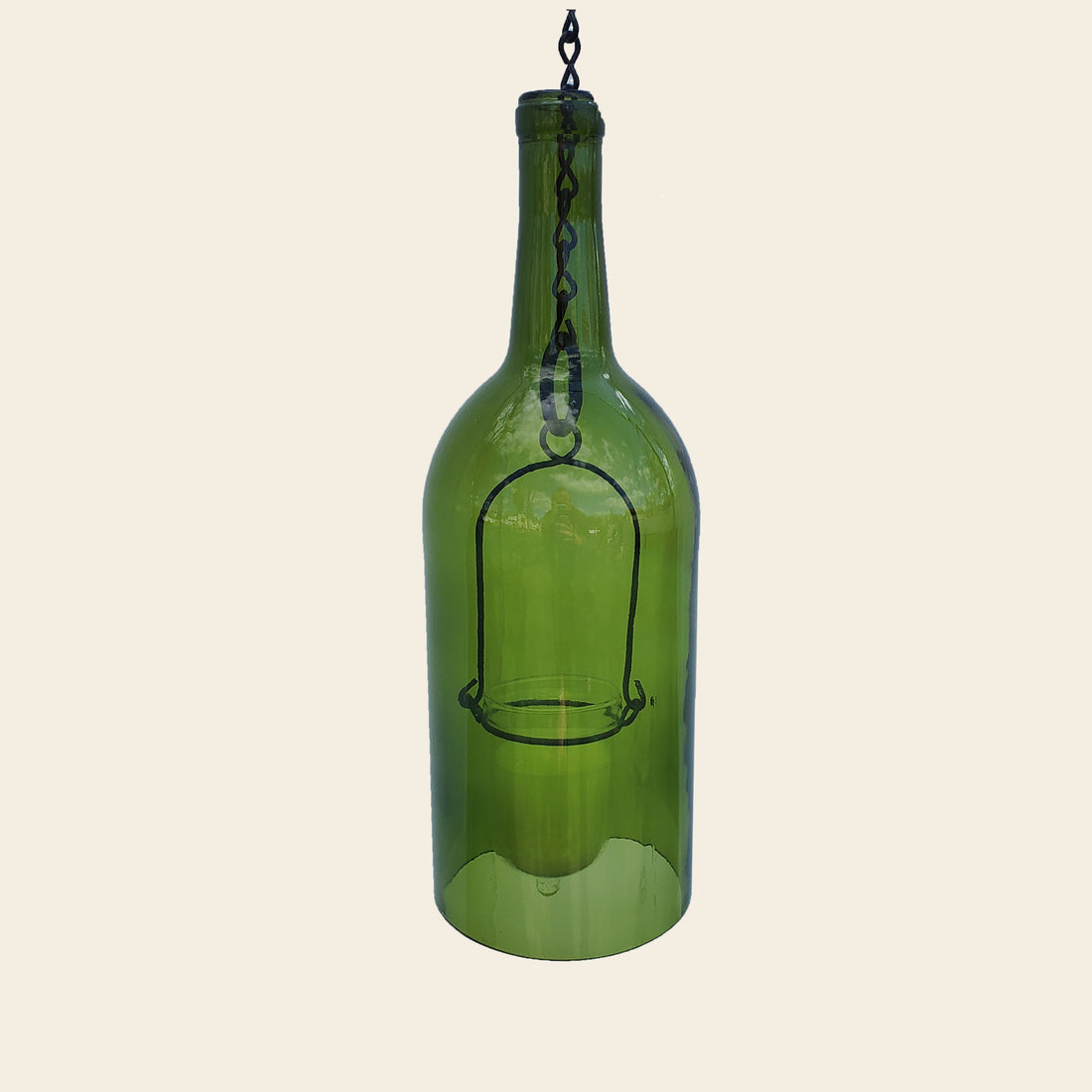 Hand-cut wine bottle hanging lantern