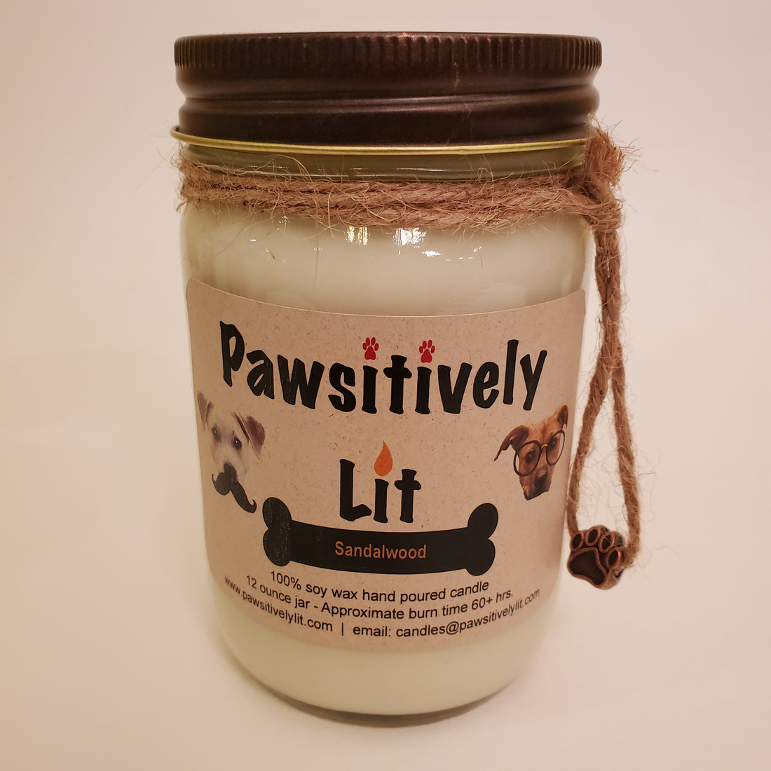 Sandalwood Scented Pawsitively Lit 100% Soy Wax Mason Jar Candle
