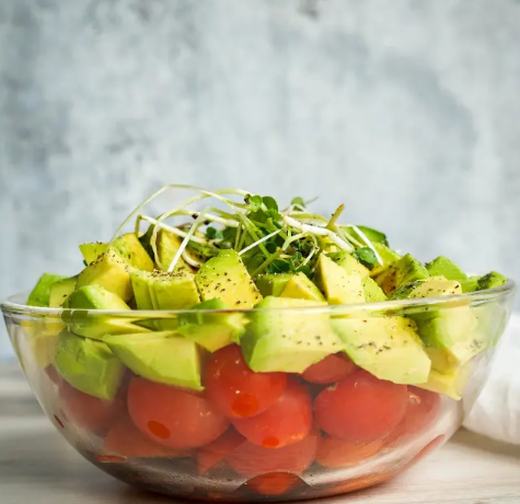 Avocado and Tomato Salad with Microgreens