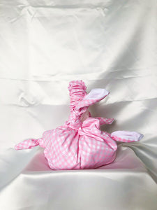 Pale pink gingham furoshiki bag