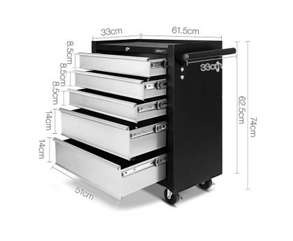 Giantz 5 Drawer Tool Box Storage Trolley - Black & Grey