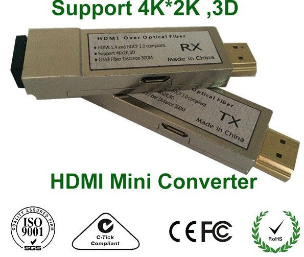 Mini 4K HDMI Over Optical Fiber Transceiver Multi-mode 300m