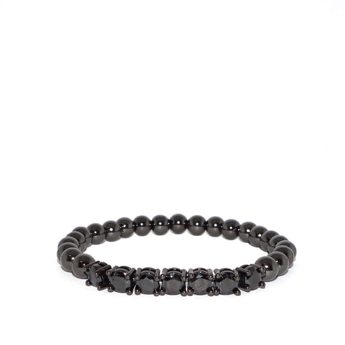 CZ & Metal Beaded Stretch Bracelet