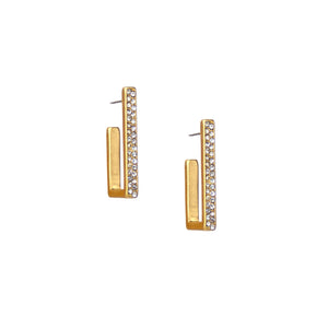 Pave Open Rectangle Hoop Earring