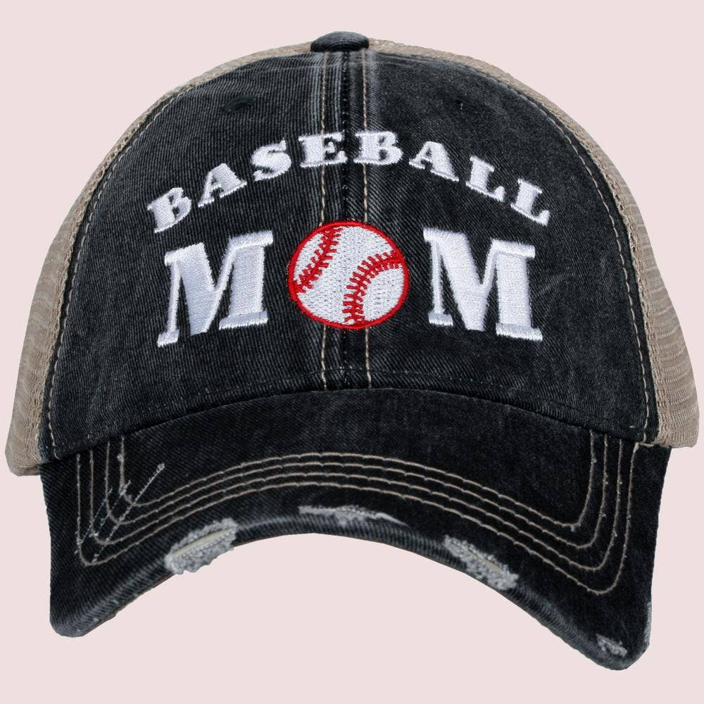 Baseball Mom Distressed Trucker Hat