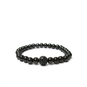 Metal Beaded Stretch Bracelet With Pave Ball