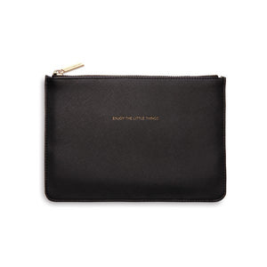 Enjoy The Little Things Black Medium Pouch
