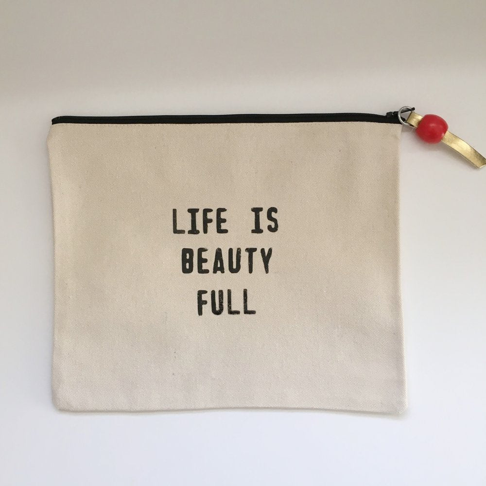 Life Is Beauty Full Canvas Pouch