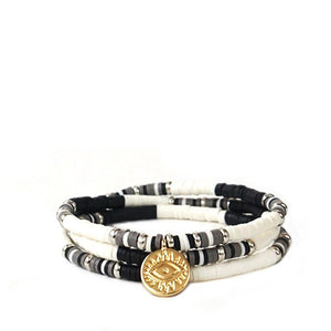 Heishi Bead Wrap Bracelet With Evil Eye Charm