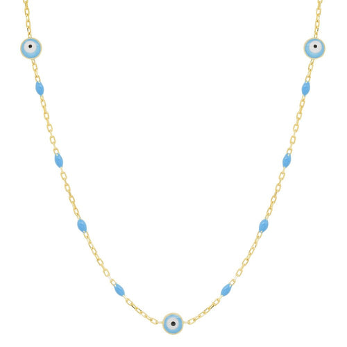 Evil Eye Enamel & Gold Vermeil Necklace