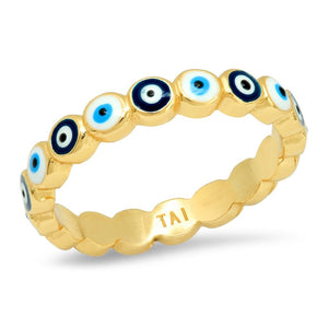 Evil Eye Enamel & Gold Vermeil Ring