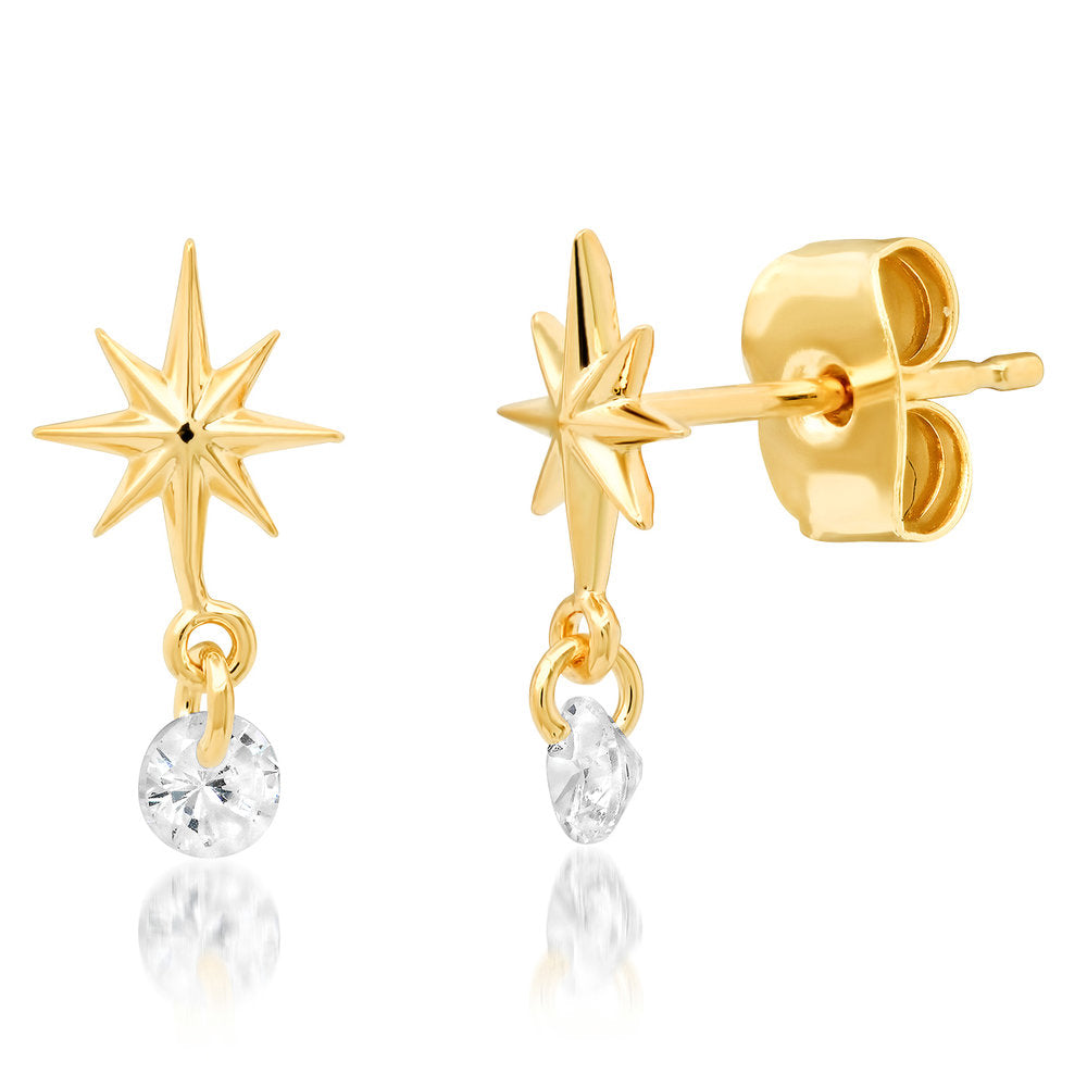 Starburst Earring With CZ Drop
