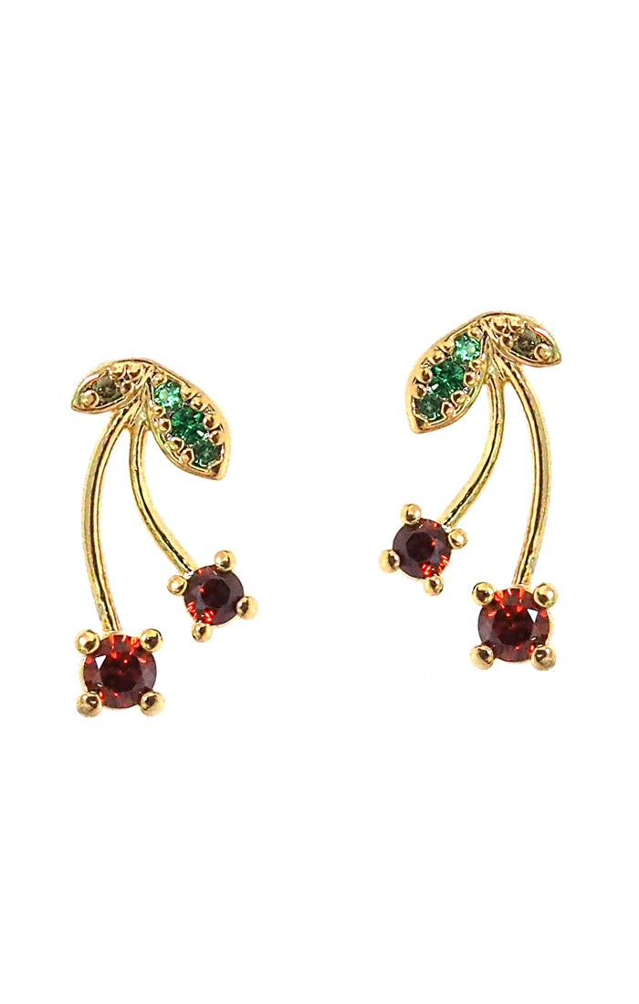Pave Cherry Stud Earrings