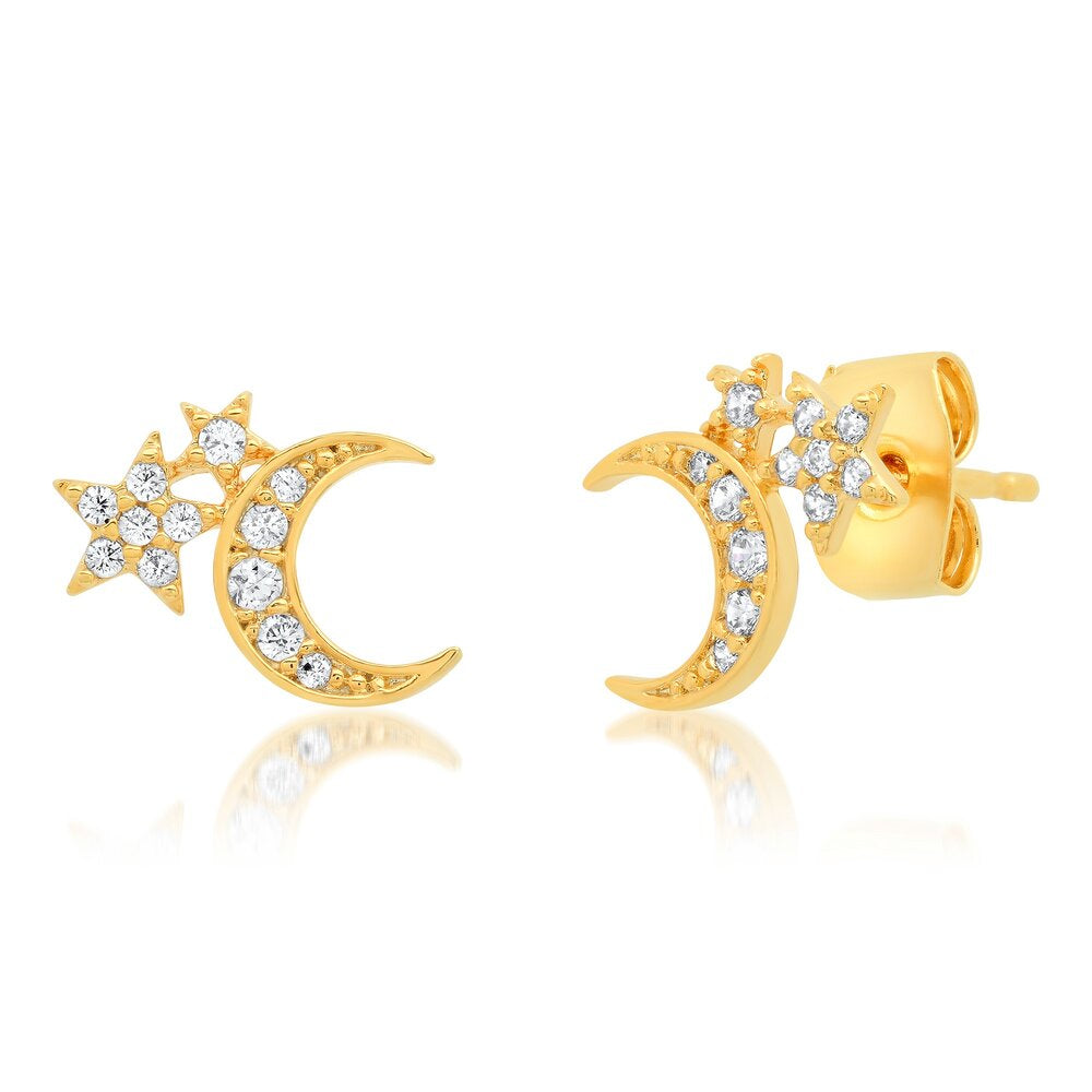 CZ Pave Star & Moon Stud Earring