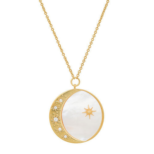 Mother Of Pearl Moon & Star Pendant Necklace