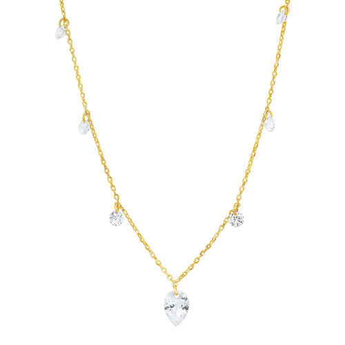 Floating CZ Station Necklace