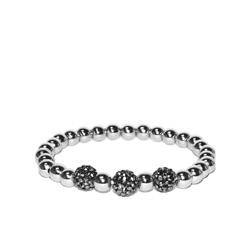 Pave Tri-Bead Metal Stretch Bracelet