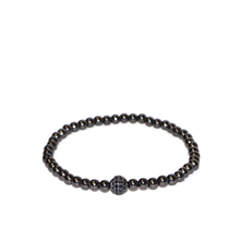 Load image into Gallery viewer, Marlyn Schiff Skinny Metal Pave Ball Stretch Bracelet