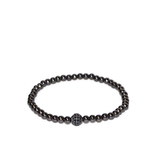 Skinny Metal Pave Ball Stretch Bracelet