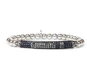 Multi Pave Bar Bead Bracelet
