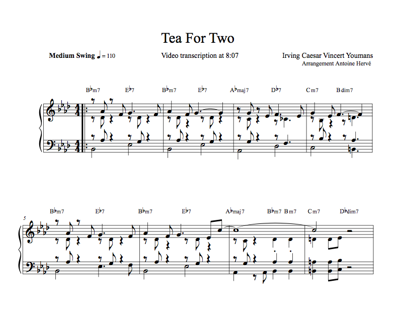 TEA FOR TWO- Piano Lesson by Antoine Herve | antoineherve com