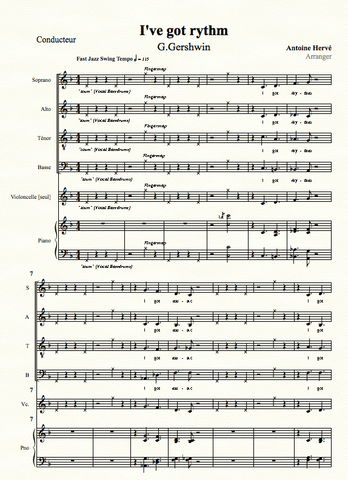 I'VE GOT RYTHM - score for choir SATB arranged by Antoine Hervé|I'VE GOT RYTHM  - partition pour choeur SATB - arrangement d'Antoine Hervé