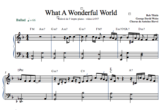 WHAT A WONDERFUL WORLD - Piano Lesson by Antoine Herve ...
