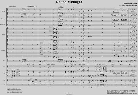 ROUND MIDNIGHT - Thelonious Monk - Big-Band score|ROUND MIDNIGHT - Thelonious Monk  - BB (ONJ) Score + parties