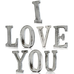 Shabby Chic Bali Mango Handcrafted Wood - I LOVE YOU letters