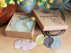 Necklace & Earring Set - Bravery Leaf - Real Leaf - Pink Gold