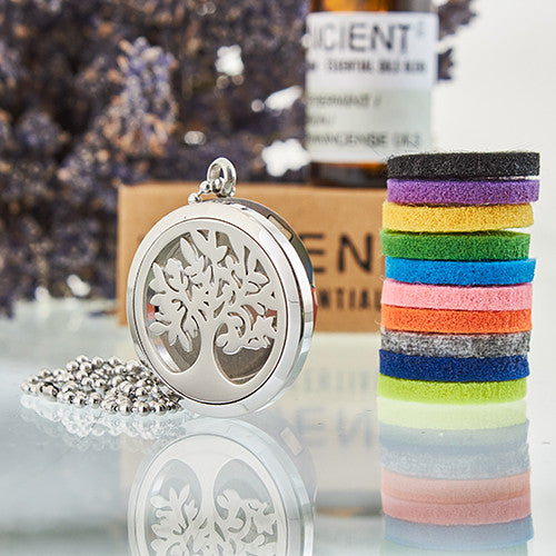 Aromatherapy Diffuser Necklace -Tree of Life 30mm & 10 different coloured pads
