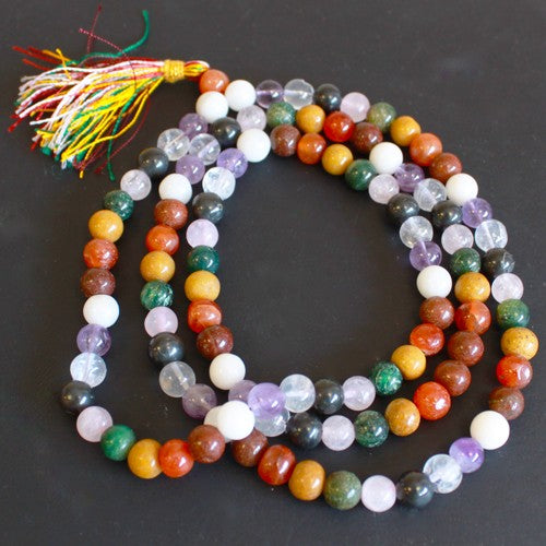 108 Gemstone Mala Beads - 9 Planet Astro Mantra and meditation beads